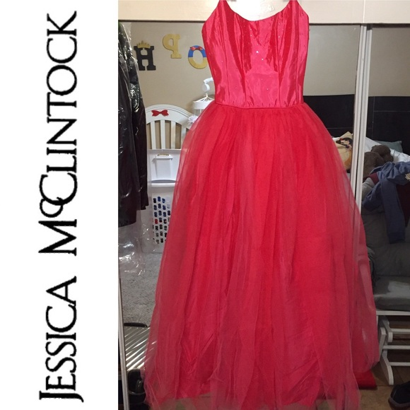 Jessica McClintock Dresses | Hot Pink Prom Gown Dress Tulle Princess ...